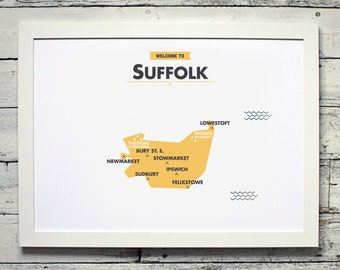 Suffolk County Map | # poster, vintage, retro, print
