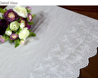 "1y Broderie Anglaise Embroidery cotton lace White 23"" (59cm) yh1318L laceking"