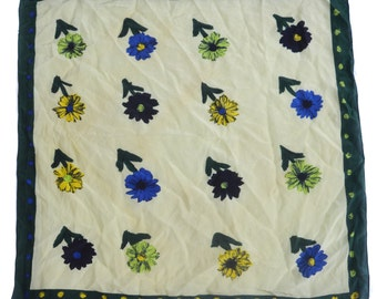Vintage Natur Pur scarf 100% silk floral flowers yellow green