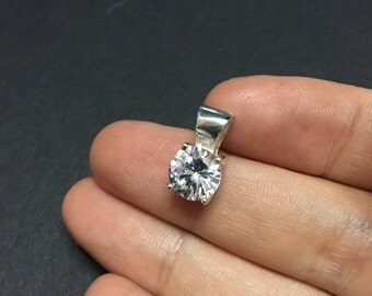 Vintage sterling silver with cz pendant, 925 silver pendant, stamped Thai, 925 Cz
