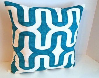 Cool Blue & White 16 x 16 Envelope Style Pillow Cover
