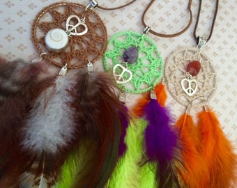 FREE SHIPPING Wanderlust dreamscatchers collection, can be used as necklace or hang on the wall