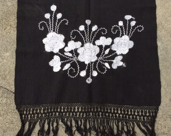 Floral Embroidered Mexican Table Runner Black and White