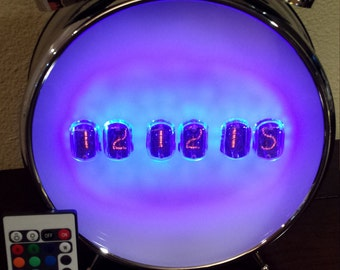"6-Digit IN-12 Nixie Clock With RGB LED Remote - ""New School"""