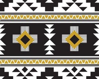 Jersey Knit Fabric by the Yard, Four Corners Fabric, Aztec Design, Black Triangles, Apparel, Simple Simon & Company, Riley Blake Designs