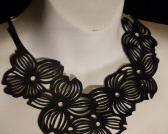 Dogwood Re-purposed Leather Necklace