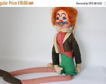 ON SALE Vintage clown, soft toy cloth fabric, striped legs, waistcoat tails