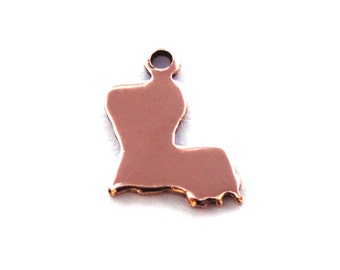 2x Rose Gold Plated Blank Louisiana State Charms - M132-LA