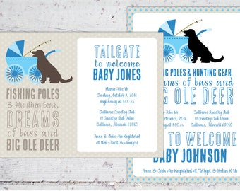 Fishing Poles + Hunting Gear, Dreams of Bass + Big Ole Deer Baby Shower Invitation   5x7   Print-It-Yourself   Digital Download Printable