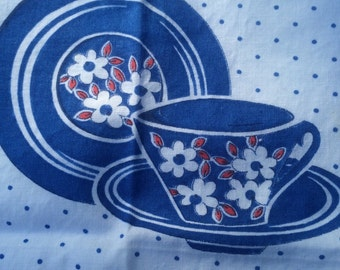 Vintage napkin set of 6, red and blue dishes ,hand made