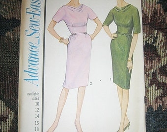 1960's Advance Dress Pattern #3372, Sew Easy Pattern, Classic 1960's Style, Pencil Skirt,