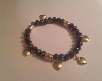 heart, love bracelet glass beads