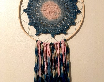Large Cochineal and Indigo Dream Catcher
