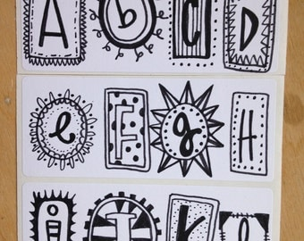 Pack of hand-drawn alphabet stickers