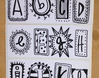 Pack of original hand-drawn alphabet stickers