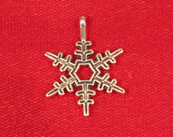 "BULK! 30pc ""snowflake"" charms in antique silver style (BC907B)"