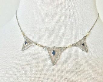 SALE 10K White Gold Art Deco Necklace