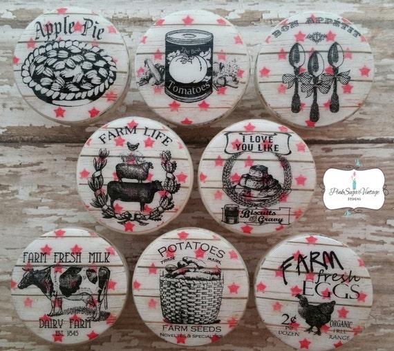 Kitchen Knobs Drawer Pulls Vintage Farmhouse Foods Barnwood
