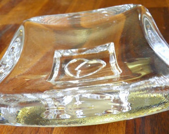 "RARE Vintage Kosta Boda ""Days"" (Saturday) Pin/Trinket Dish--Bertil Vallien Design--Heart/Face Design--4-1/4"" W x 4-1/4"" D x 2"" H"