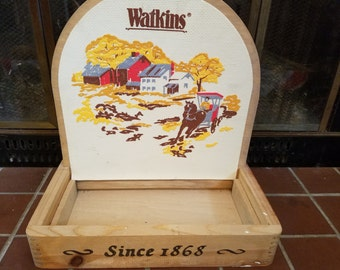 Vintage Watkins Pharmacy Display - Great Graphics - Wood Box with Dovetails