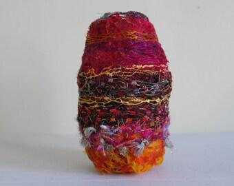 """Experimental Vessel, Fibre Art Vase, Textile Vessel, Textile Art  - Fire 7"""""""