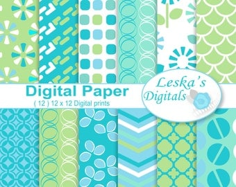 Digital scrapbooking papers, digital download, 12x12 printable papers, blue and green digital paper pack, geometric backgrounds