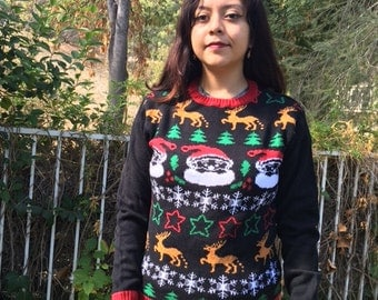 Ugly Christmas sweater, size medium, pull over sweater, Santa, reindeer