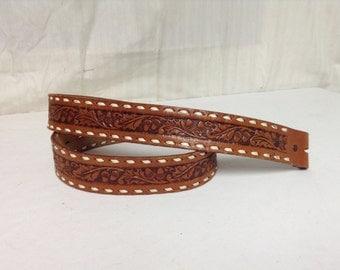 "Tooled Leather belt,Acorns, Leaves, Belt, w/o Buckle, 38"""
