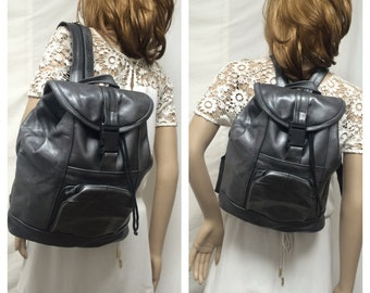 Backpack bag,large leather backpack ,pewter tone, Made in Mexico,back pack