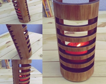 Wooden Candle Holder with Flame Pattern