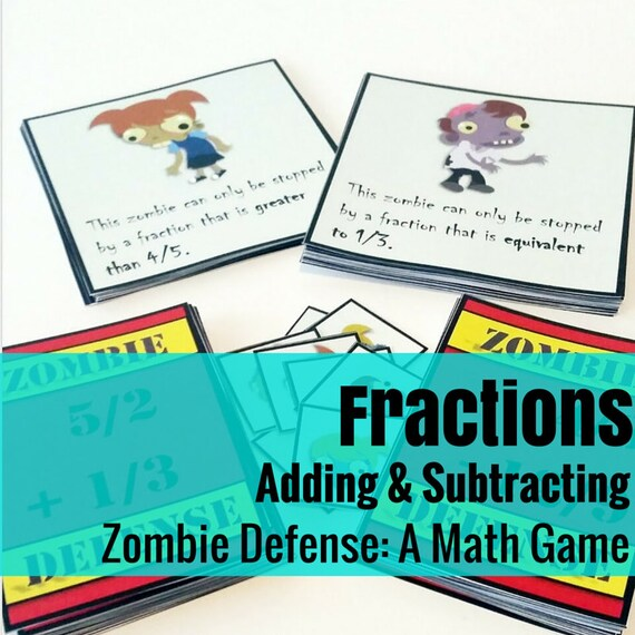 Zombie Defense Math Game: Adding, Subtracting, & Comparing Fractions
