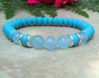 Woman's Turquoise and Aquamarine Bracelet, Yoga Bracelet, Energy Bracelet, Gemstone Bracelet, Mala Healing Jewelry, Meditation Bracelet