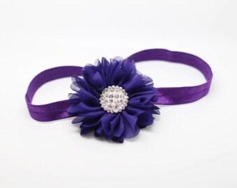 Purple Headband, Purple Baby Headband, Deep Purple Headband, Purple Newborn Headband, Purple Flower Girl Headband, Purple Birthday Headband