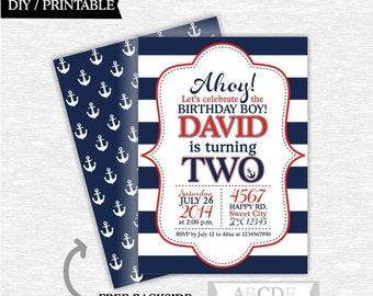 Red and Navy Boy Nautical Birthday Invitation DIY Printable (PDNMO106)