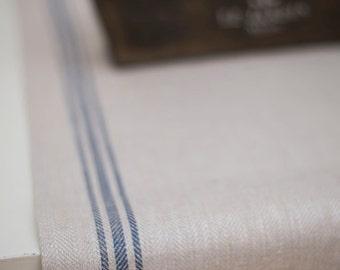 Runner Stonewashed Natural Herringbone with Blue Stripes