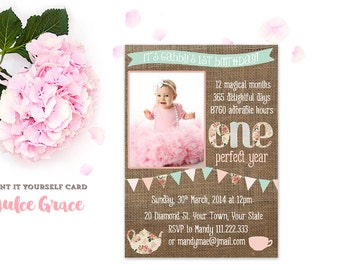 1st birthday photo invite, 1st birthday party, one perfect year, bunting flags invites, baby girl invitations, cottage chic, digital file