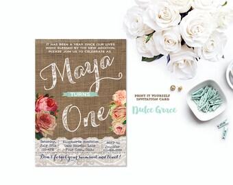 1st birthday invitations girl, butterfly birthday invitation, girl birthday party invites, print at home invitations, boho birthday invites