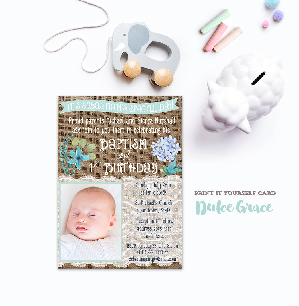 First Birthday And Baptism Invitations 1st Birthday And: Boy Baptism 1st Birthday Invitation DIY PRINTABLE Baptism