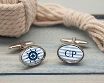 Romantic Nautical Wheel Cufflinks - Personalised - Choose From Three Shapes - Sailing - Boating - Marine - FREE UK DELIVERY!