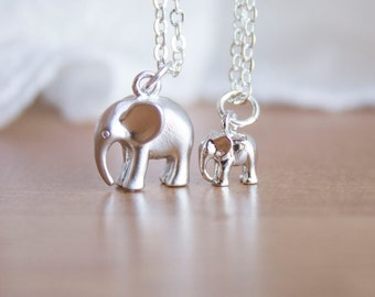 Mama and Baby Elephant Necklace Set - Silver Mama Elephant Jewelry Gift for Mom Necklace - Baby Elephant Jewelry - Mom and Baby Necklace Set