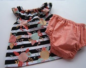 Baby Girl Clothes, Black Stripe Outfit, Girls Floral Outfit, Coral Diaper Cover, Black Gold Top, Ruffled Collar Top, Summer Outfit, 2 Piece