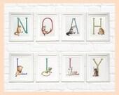 "Custom Animal Alphabet Name set of prints. Individually mounted letters 8""x10"""