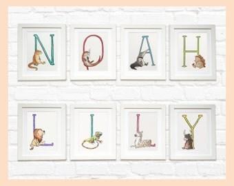 "Custom Animal Alphabet Name set of prints. Individually mounted monogram letters 8""x10"" Personalised for any name. Nursery decor"