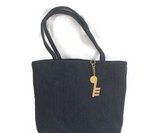 1940s Purse, 1950s Purse, Black Corde Purse with Musical Note Zipper Pull, Vintage Handbag, Weeda Corde