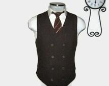 Vintage Maroon Double Breasted Vest / Maroon 6x4 Waistcoat / Wedding / Size 40 Medium Med M / Groom / Men Suit Vest / Mens Vest / Formal