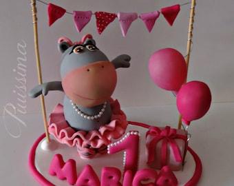 Hippo cake topper