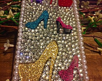 Iphone 6plus, iphone 6splus high hell cell phone case, bling high heels cell phone case, iphone 6 plus case covered in heels and bling,