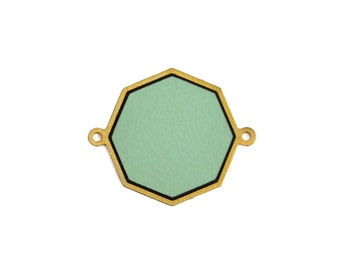 Geometric Connector, 1 Pc, Octagon FORMICA Pendant, Gold Plated Pendant, Laser Cut Jewelry, Mint Green Pendant, Wood Pendant, Jewelry Making