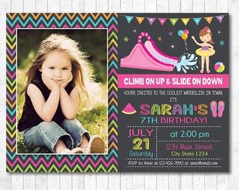 Water Slide Birthday Invitation, Water slide Invite, Pool Invitation, Pool Party, Photo Invitation, Girl, pink, Water slide party, Printable