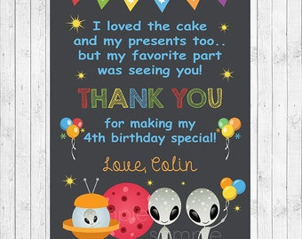 Ufo Thank you Card, Ufo  thank you note, Alien thank you tags, Alien birthday, Ufo birthday, Space party, Space birthday, printable